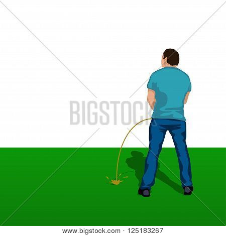 illustration of pissing man silhouette standing back on grass
