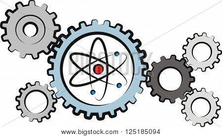 vector atom diagram and gear - nuclear power plant