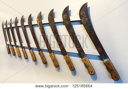Mauritius. Old machete for cutting down of a sugar cane