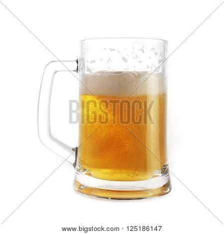 view of beer in mug close up