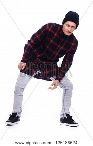 Hip Hop Style Dancer Performing Isolated On A White Background
