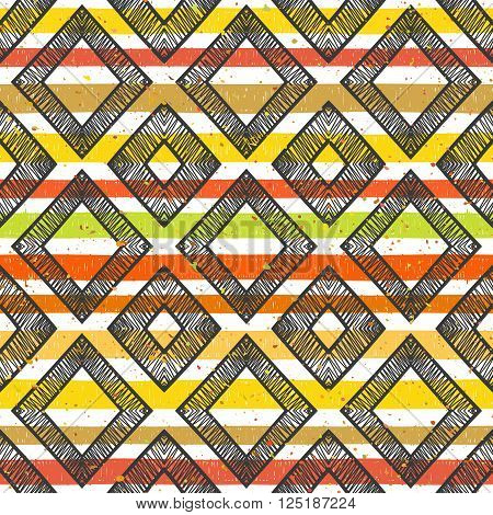 Hand drawn striped colorful seamless pattern with motley splatter and black rhombs. Grunge style pattern for background, textile, paper packaging and other design. Vector illustration.