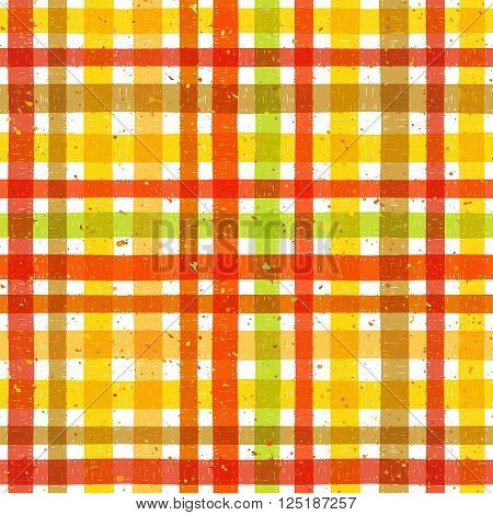 Hand drawn tartan colorful seamless pattern with motley splatter. Grunge style pattern for background, textile, paper packaging and other design. Vector illustration.