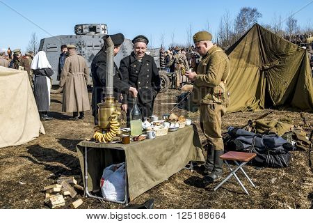 April 03, 2016. Saint-Petersburg.Red Army soldiers on military-Patriotic festival