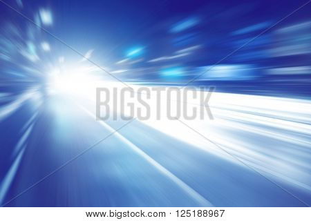 Abstract image of night lights with motion blur in the city.