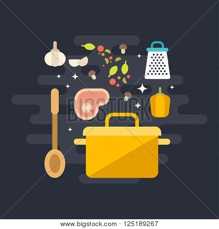 Cooking Concept. Ingridients for Soup with Soup Pot and Ladle. Flat Style Vector Illustration
