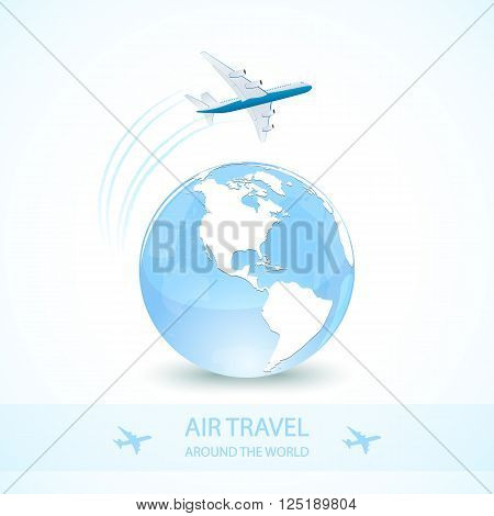 Air travel with white plane and earth globe around the world, illustration.