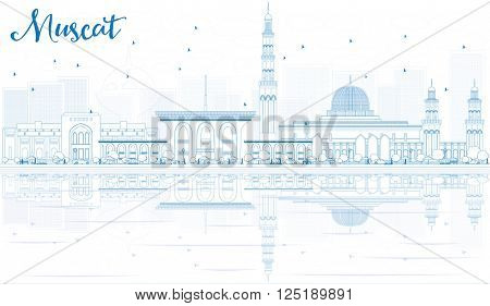 Outline Muscat Skyline with Blue Buildings and Reflections. Business Travel and Tourism Concept with Historic Buildings. Image for Presentation Banner Placard and Web Site.