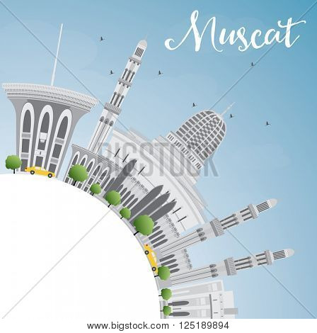 Muscat Skyline with Gray Buildings and Blue Sky. Business Travel and Tourism Concept with Copy Space. Image for Presentation Banner Placard and Web Site.
