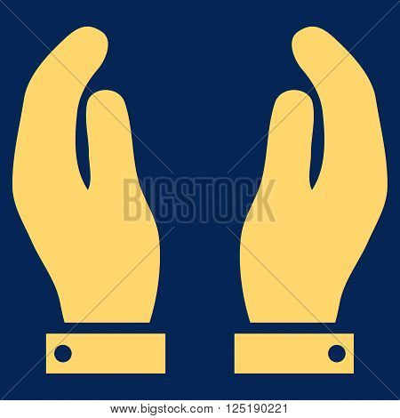 Care Hands vector icon. Care Hands icon symbol. Care Hands icon image. Care Hands icon picture. Care Hands pictogram. Flat yellow care hands icon. Isolated care hands icon graphic.