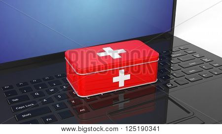 3D rendering of first aid kit on laptop's keyboard