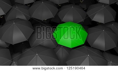 3D rendering of classic large black umbrellas tops with one green standing out.