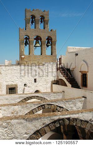 PATMOS, GREECE - JUNE 13, 2005: Saint John the Evangelist monastery at Patmos Island