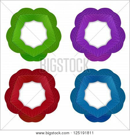 circle frame set of purple , burgundy , turquoise blue and green sheets on a white background set
