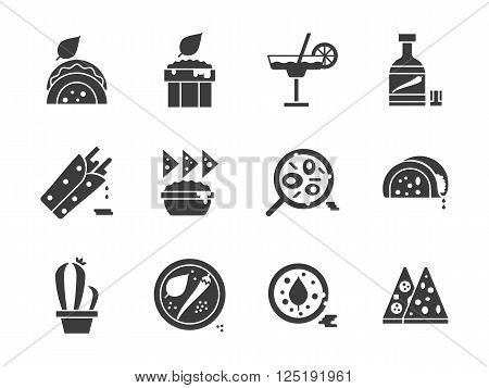 Mexican national cuisine menu. Tacos, burritos, salads and other spicy meal. Collection of symbolic black glyph style vector icons. Elements for web design and mobile.