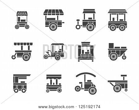 Wheel trolley and equipment for street vending and fast food. Mobile wheel shops, cart stalls. Collection of symbolic black glyph style vector icons. Elements for web design and mobile.