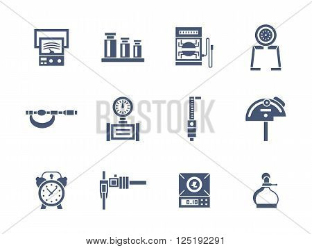 Set of measurement instrument samples. Tools for education, engineering, metrology research and others. Collection of symbolic glyph style vector icons. Elements for web design and mobile.