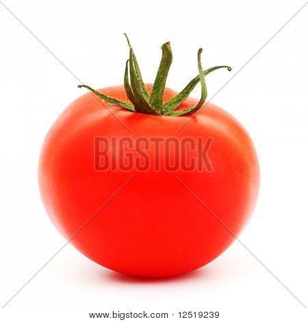 one tomato isolated on white