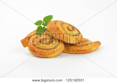 sweet cinnamon rolls on white background