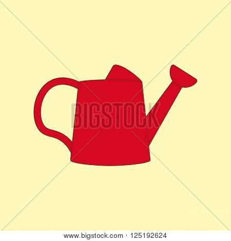 Watering Can Icon on the yellow background. Vector illustration