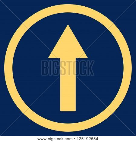 Up Rounded Arrow vector icon. Up Rounded Arrow icon symbol. Up Rounded Arrow icon image. Up Rounded Arrow icon picture. Up Rounded Arrow pictogram. Flat yellow up rounded arrow icon.