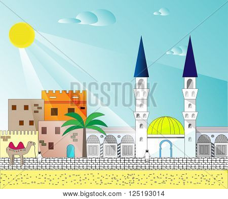 Islamic colorful cityscape with houses mosque and minaret. Mosques and minarets horizontal patterns. Vector illustration