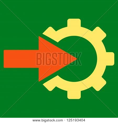 Cog Integration vector icon. Cog Integration icon symbol. Cog Integration icon image. Cog Integration icon picture. Cog Integration pictogram. Flat orange and yellow cog integration icon.