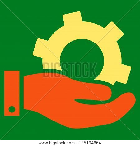Service vector icon. Service icon symbol. Service icon image. Service icon picture. Service pictogram. Flat orange and yellow service icon. Isolated service icon graphic. Service icon illustration.