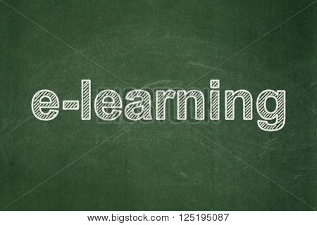 Learning concept: E-learning on chalkboard background
