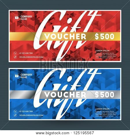 Golden And Silver Gift Voucher. Vector Design Print Template. Gift Certificate. Coupon, Ticket Templ