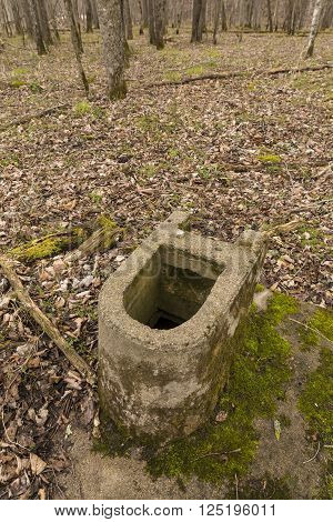 A concrete toilet is all that remains of an old camp in the woods.