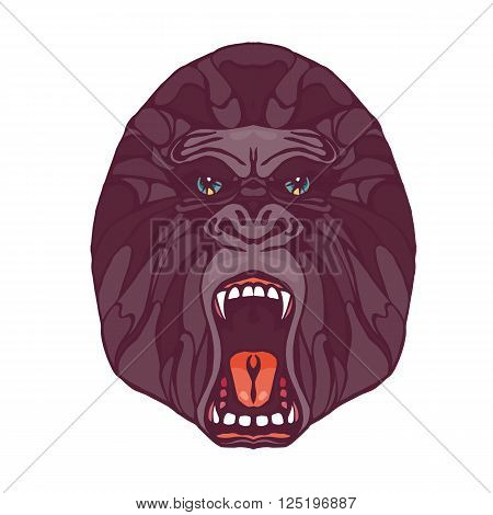 Growling detailed gorilla in cartoon style. Design for t-shirt poster bag. Vector