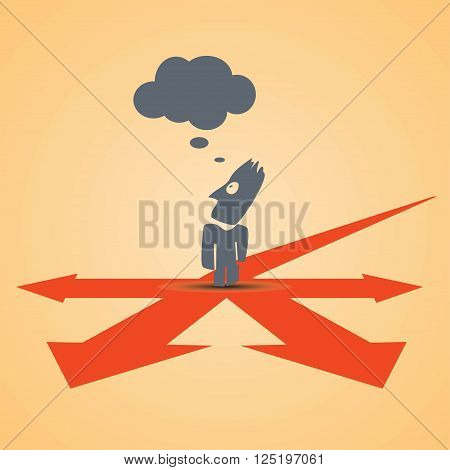 cartoon illustration of businessman standing at crossroad and thinking what to do.