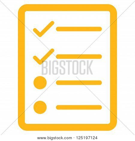 Checklist Page vector icon. Flat yellow checklist page icon.