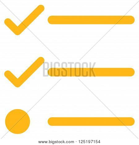 Checklist vector icon. Checklist icon symbol. Checklist icon image. Checklist icon picture. Checklist pictogram. Flat yellow checklist icon. Isolated checklist icon graphic.