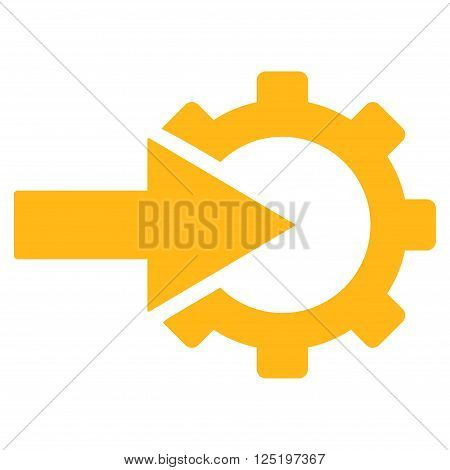 Cog Integration vector icon. Cog Integration icon symbol. Cog Integration icon image. Cog Integration icon picture. Cog Integration pictogram. Flat yellow cog integration icon.