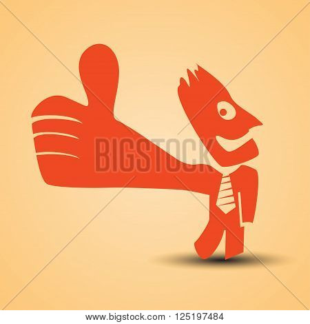 cartoon illustration of red man standing with thumb is up. businessman is red color and with necktie