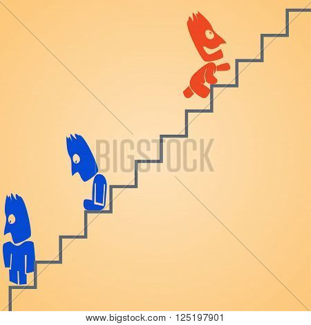 cartoon illustration od climbing businessman at ladder. dont give up