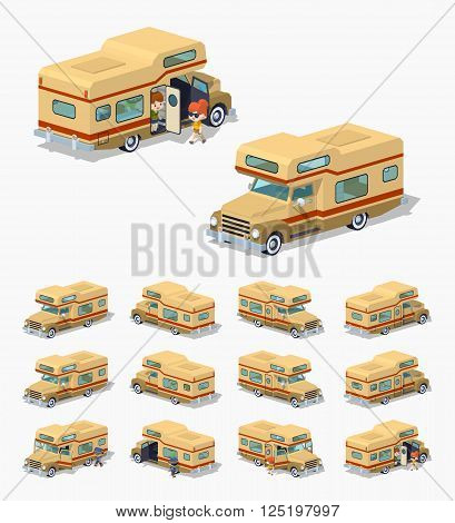 Brown motor home. 3D lowpoly isometric vector illustration. The set of objects isolated against the white background and shown from different sides