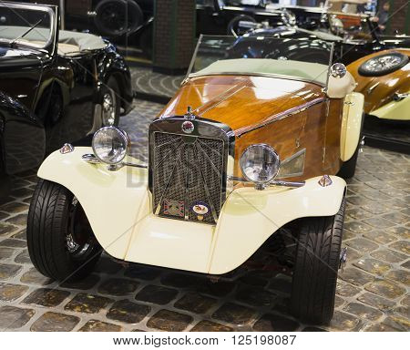 Russia, Moscow - 24 January 2015: Museum of Technology Vadim Zadorozhnogo - Russia's largest private museum of art Triumph GT6 USA 1999. 1 units. Russia Moscow 24 January 2015