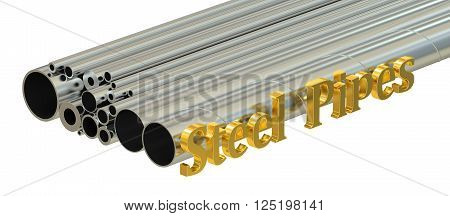 Steel pipes concept rolled metal. 3D rendering