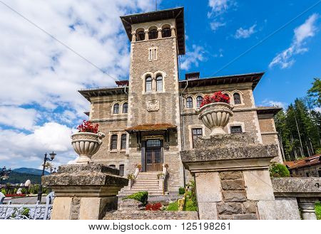 Exterior view of Cantacuzino Castle, Bucegi, Romania