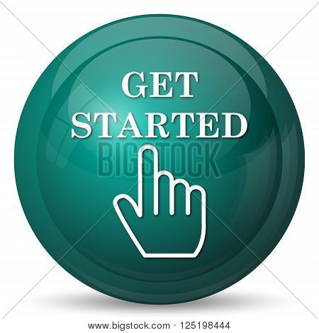 Get started icon. Cyan internet button on white background.