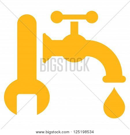 Plumbing vector icon. Plumbing icon symbol. Plumbing icon image. Plumbing icon picture. Plumbing pictogram. Flat yellow plumbing icon. Isolated plumbing icon graphic. Plumbing icon illustration.