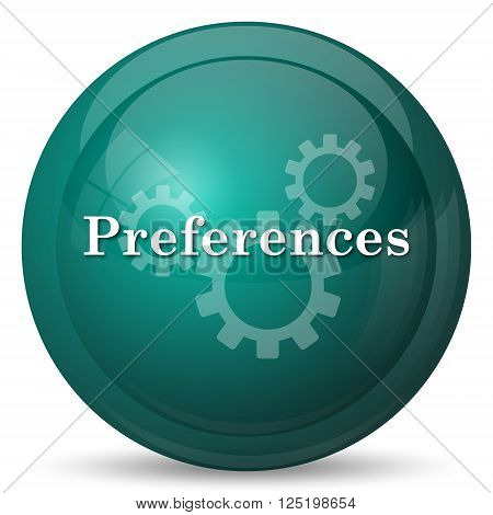 Preferences icon. Cyan internet button on white background.