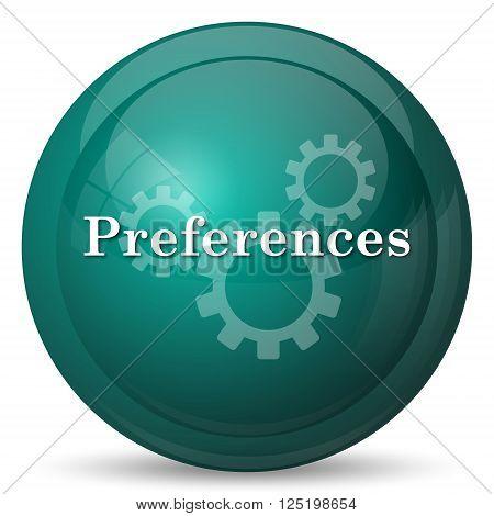 Preferences icon. Cyan internet button on white background.