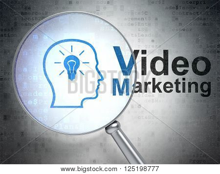 Advertising concept: Head With Lightbulb and Video Marketing with optical glass