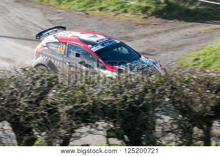 NORTHERN IRELAND - APRIL 9, 2016: Car on stage of Circuit of Ireland 2016