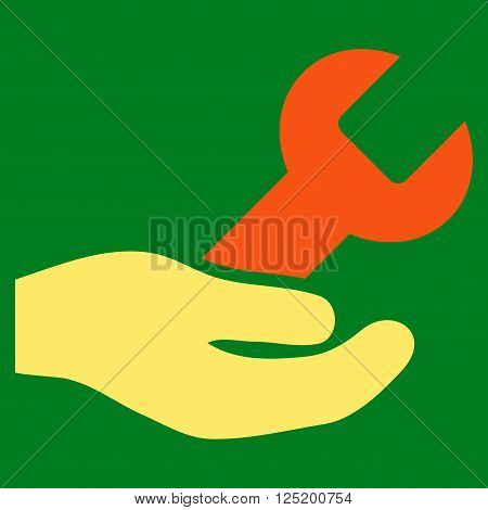 Repair Service vector icon. Repair Service icon symbol. Repair Service icon image. Repair Service icon picture. Repair Service pictogram. Flat orange and yellow repair service icon.