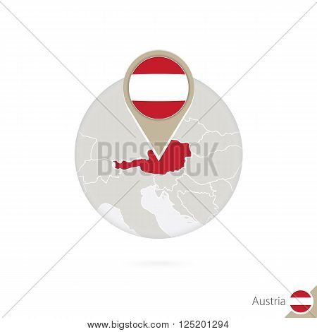 Austria Map And Flag In Circle. Map Of Austria, Austria Flag Pin. Map Of Austria In The Style Of The